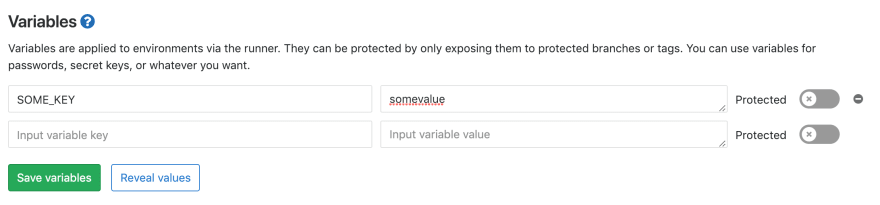 """The """"Variables"""" panel inside Gitlab's CI configuration for a givenproject."""
