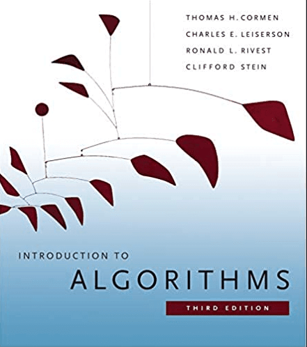 Introduction to Algorithms cover with line of maroon cartoon leaves