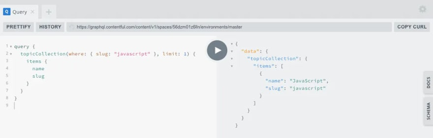 A screenshot of a topicCollection query by slug javascript in the GraphQL playground.
