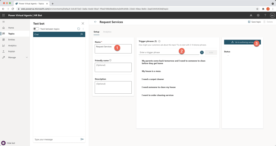 Creating a new bot in Microsoft Power Virtual Agents