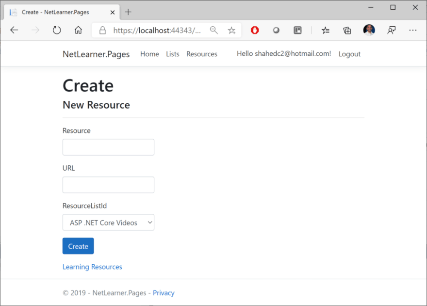 NetLearner Razor Pages: Create New Resource