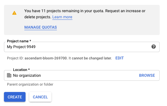 Create new GCP Project