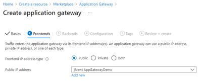 Application Gateway - Frontends