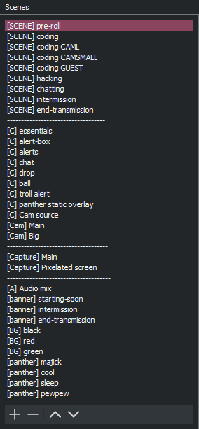 A screenshot of the full list of component and composite scenes I use in OBS