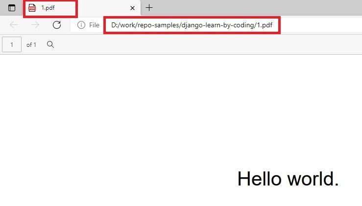Generate PDF in Django - Simple Hello World.