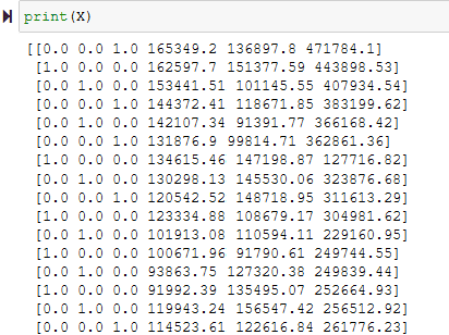 The transformed data resulting from the OneHotEncoder function.