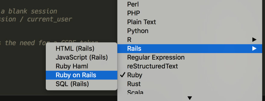 Selecting the file type in Sublime Text 3