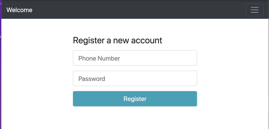 Initial registration page