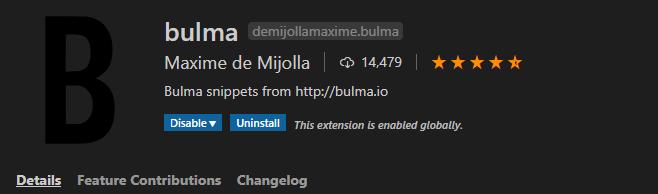Bulma Extension on vscode