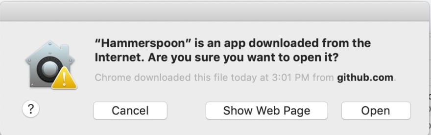 image of accepting hammerspoon security prompt