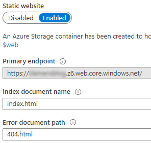 Storage Account Static Website