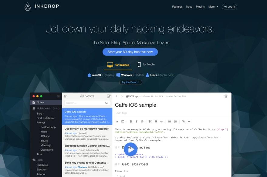 My product webpage of Inkdrop deployed on Netlify.