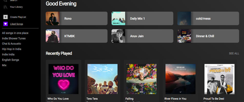 Cover image for Creating a Spotify Web Clone with ReactJS+Spotify WEB API.