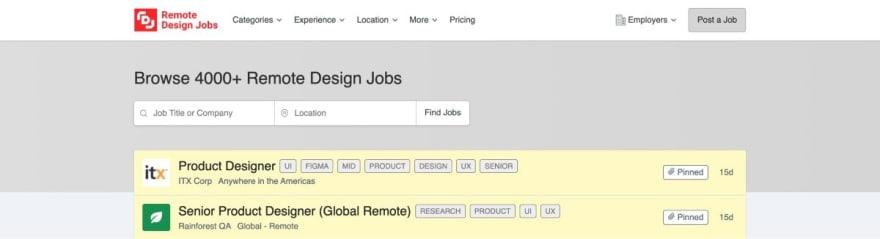 Remote Design Jobs website