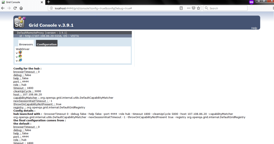Selenium-Grid-Hub-Output-Screenshot