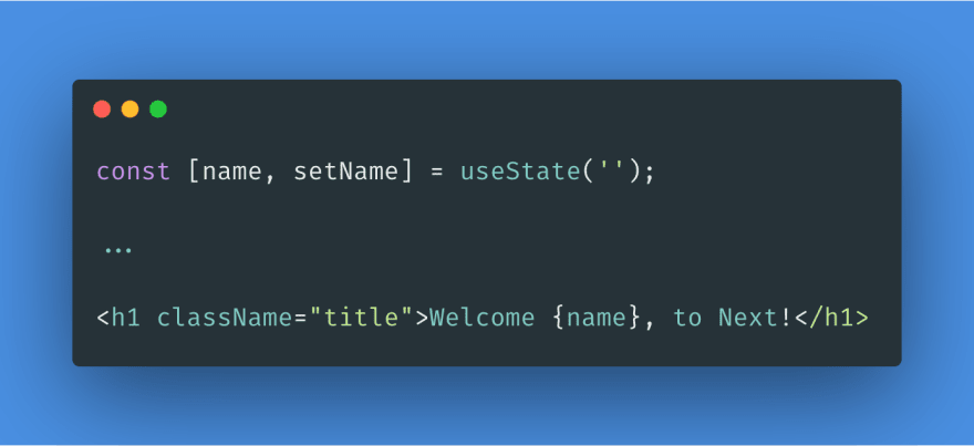 Code to add a state property called name and display that name in the UI