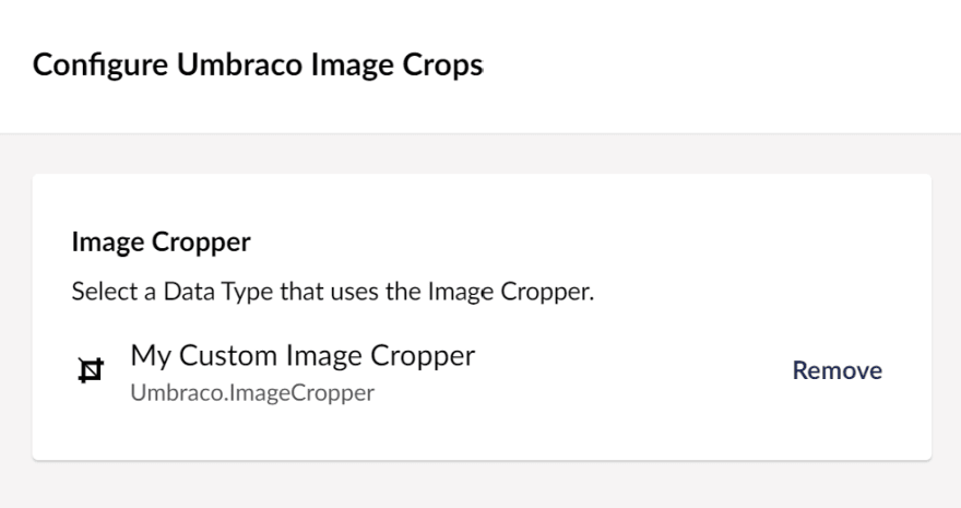 Umbraco Image Crops data-source, selected Image Cropper data-type