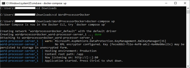 Output of docker-compose up Command