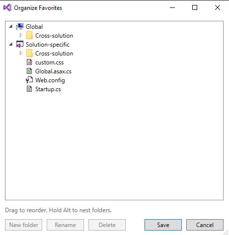 """Organize Favorites"" window"