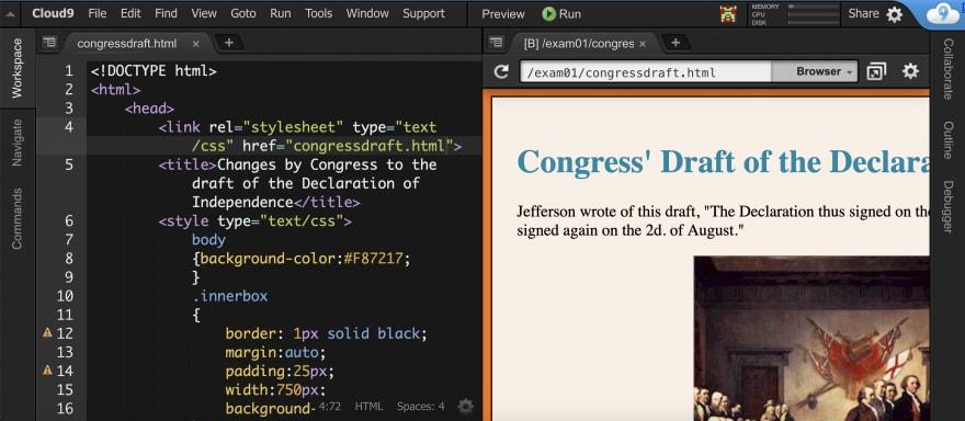Screenshot of my Cloud9 instance