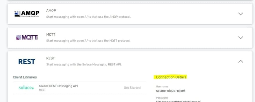 Console screenshot inside PubSub+ Cloud about how to details on how to connect the same instance via HTTP REST