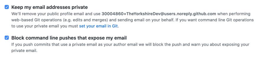 GitHub Email Settings