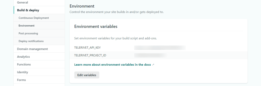 Setting up Netlify's environment variables