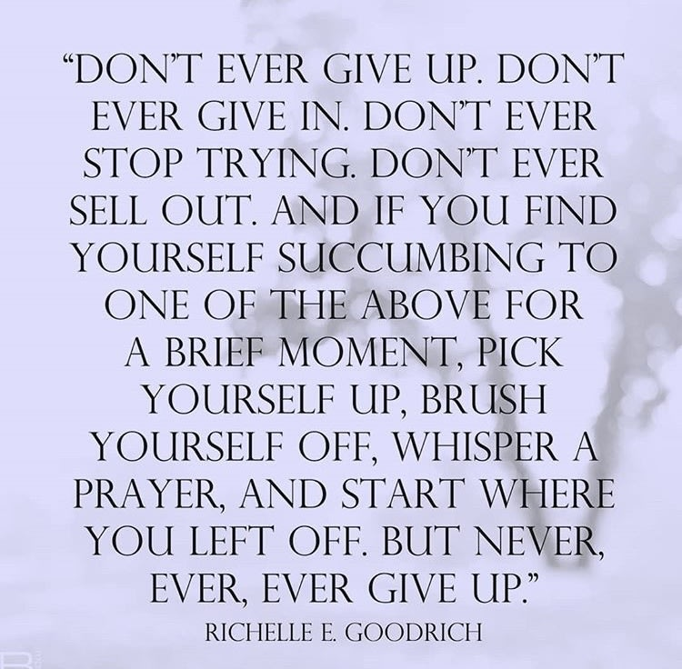 Quote by Richelle E Goodrich - Don't ever give up. Don't ever give in. Don't ever stop trying. Don't ever sell out. And if you find yourself succumbing to one of the above for a brief moment, pick yourself up, brush yourself off, whisper a prayer, and start where you left off. But never, ever, ever give up.