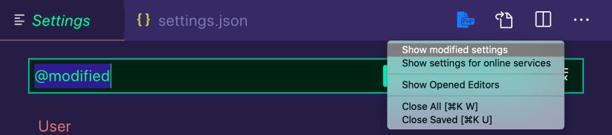 Screenshot of modified VS Code Settings window.