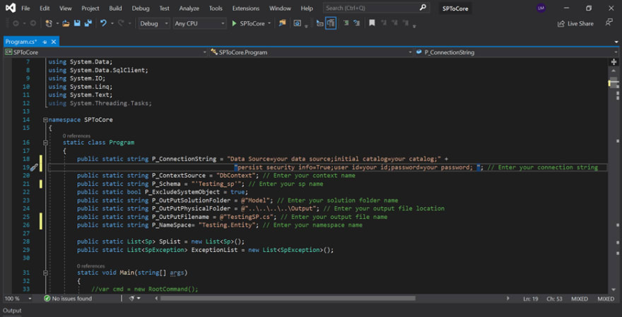 Enter your parameters in the code editor
