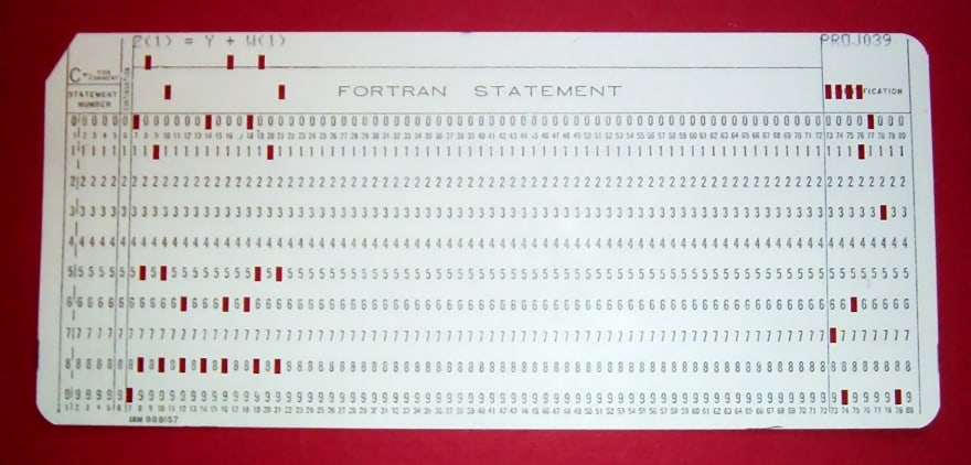FORTRAN program on 80-column punch card