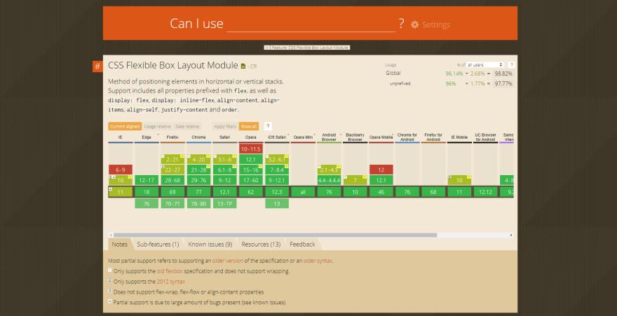 Caniuse.com screenshot