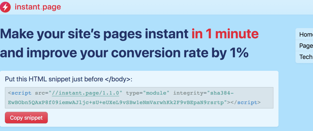 Cover image for Load Pages Instantly with instant.page