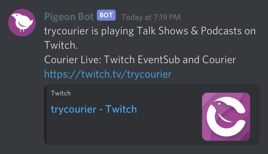 Discord example notification