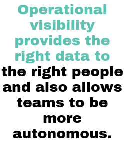Operational visibility provides the right data to the right people and also allows teams to be more autonomous
