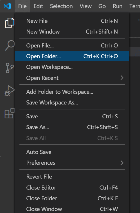 select File and then Open Folder