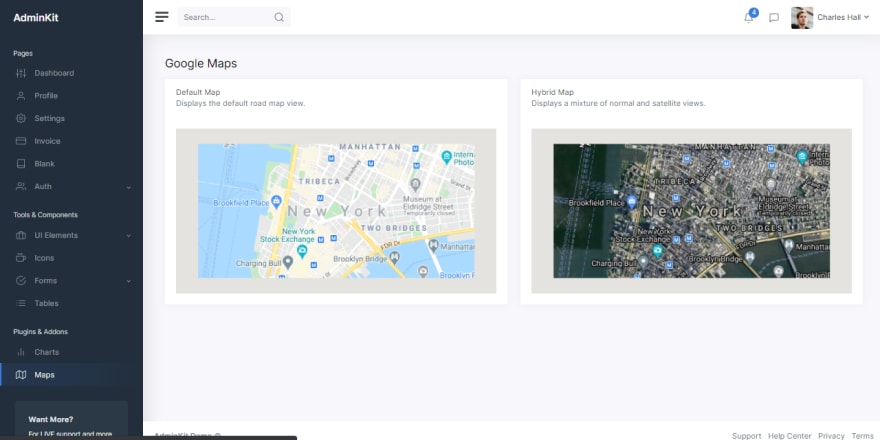AdminKit - Open-Source Bootstrap 5 template, Google maps page.