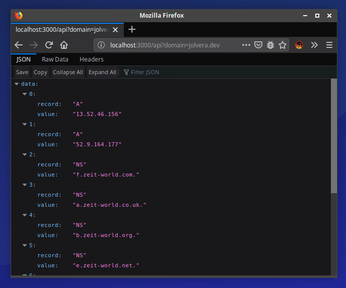 Screenshot of the Python function in the browser