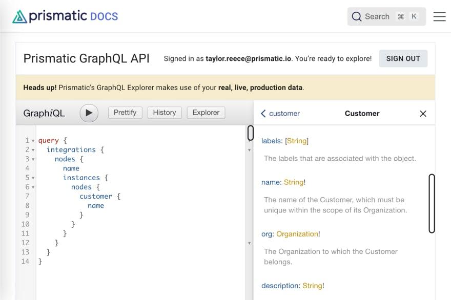 screenshot of prismatic docs explaining the graphql api