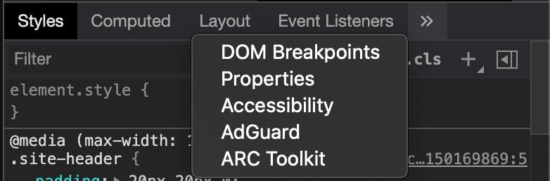 The bottom menu panel in the chrome dev tools elements tab