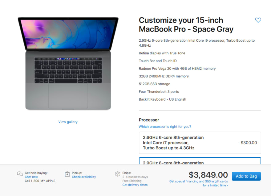 Custom macbook pro $3,849.00