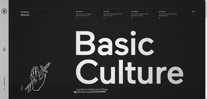 Black background portfolio design example