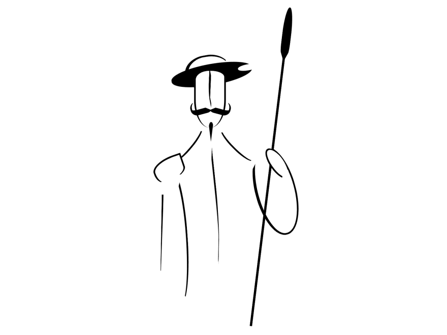 Abstract/Linear version of Don Quixote, a man with a helmet and a spear