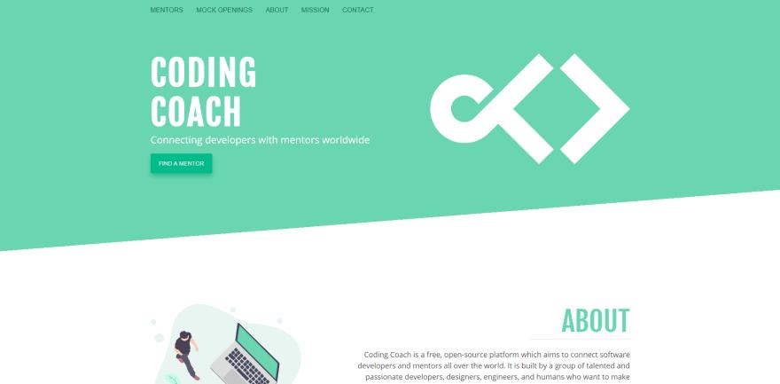 screenshot of codingcoach.io website
