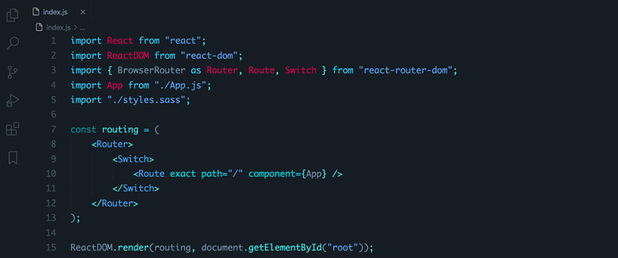 React code snippet with the August - City Lights Darker theme