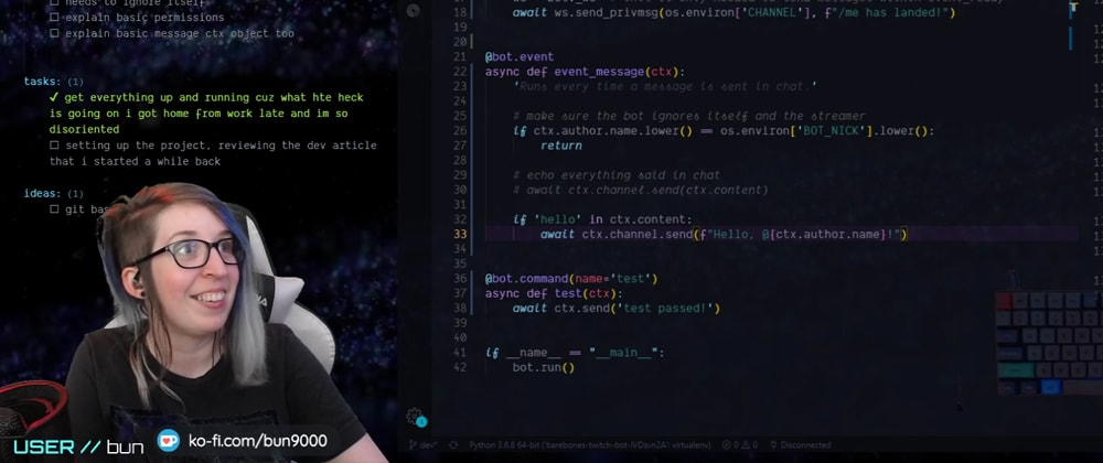 Cover image for Twitch Bot 101 (Python) [Live Coding Recap]