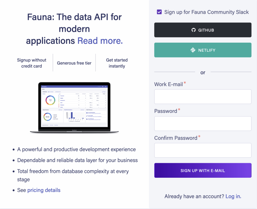 Screen capture showing Fauna log in screen.  Use can sign up with GitHub, Netlify or Email