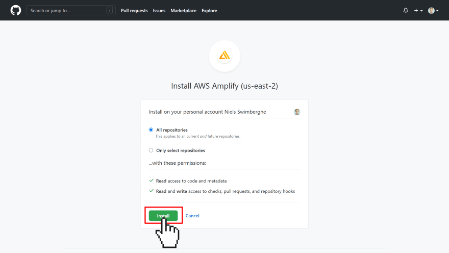GitHub asking which repositories the AWS Amplify app should have access to