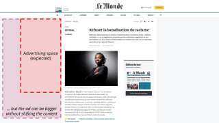 A capture of a page from LeMonde.fr where a space is reserved for an advertisement in the margin. If the advertisement is larger than expected, it takes up more space in the margin, but does not shift the content.