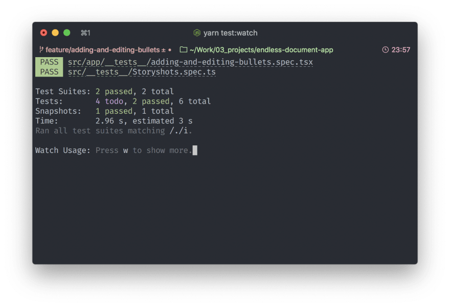Screenshot of Terminal with green tests